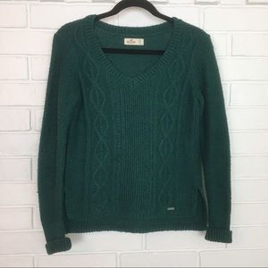 Hollister Green Cable Knit Sweater